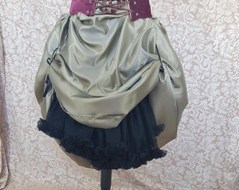 Antique Green Full Length Bustle Skirt-One Size Fits Up To A 56
