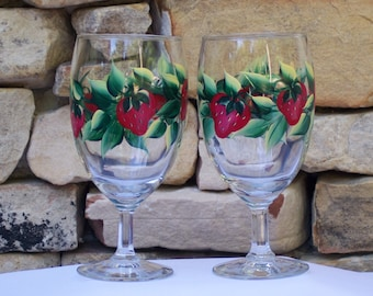 Hand Painted Glassware with Strawberries