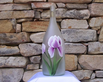 Hand Painted Decorative Glass Bottle with Pink Iris