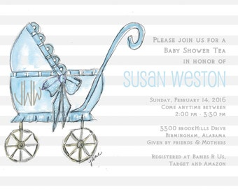 baby carriage invite etsy