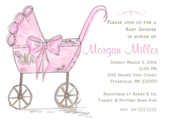 Baby Carriage Custom Personalized Invitation Baby Shower Pink Etsy