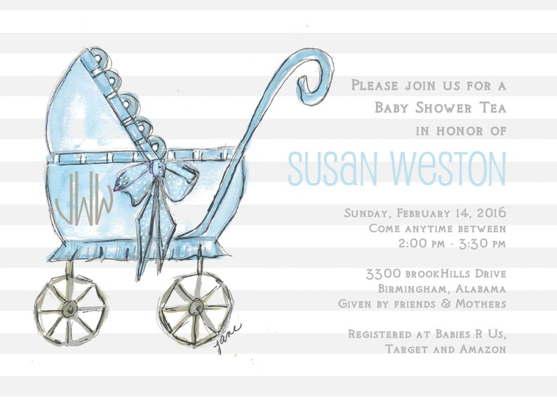 Baby Carriage Custom Personalized Invitation Baby Showerblue Etsy
