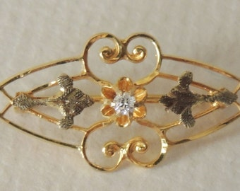 Antique 14K and Diamond Brooch