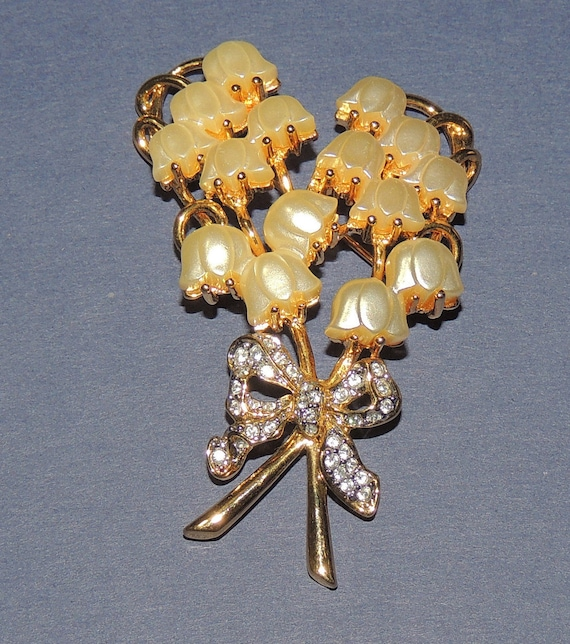 Vtg Kenneth J Lane, Lily of the Valley Brooch
