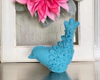 Pincushion Kit, Beaded Bird, DIY Kit, Hand Stitching Project, Bermuda Blue Bird, Stitchery Kit