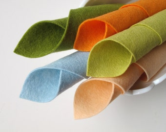 Pure Wool Felt, Fall Watercolors Color Story, Merino Wool Fiber, Melon, Aquamarine, Light Peach, Yellow Green, Avocado, Felt Fabric, Autumn