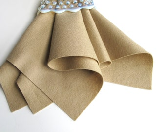 Kraft Felt Square, 100% Wool, Wool Felt Fabric, Nonwoven Material, Wool Applique, Light Brown Wool