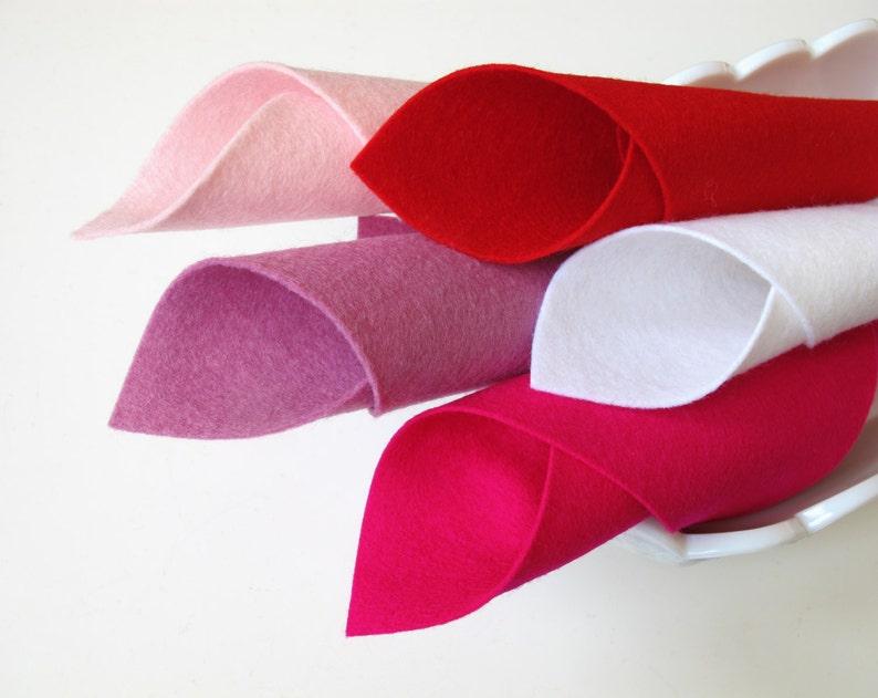 DMC Floss Felt Hearts White Wool Felt Set Rose Pink Red Light Pink Have a Heart Color Story Cerise Valentine Set Applique