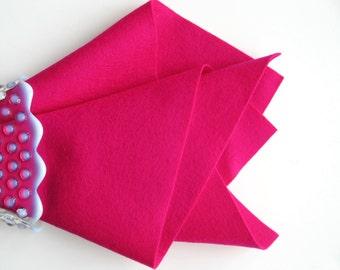 Cerise, 100% Wool Felt, Large Felt Square, Pink Wool Felt