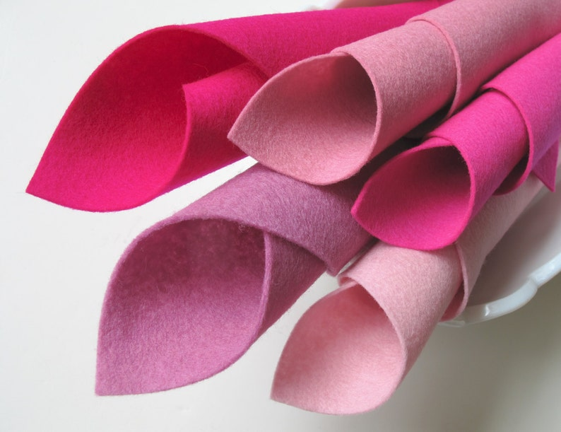 Tickled Pink Wool Felt 8x12 Inch Sheets 1mm Thick Merino image 0