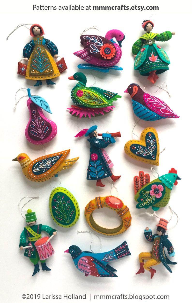 Twelve Days Ornaments Supplies Kit Jewel Colorway 100% Wool image 0