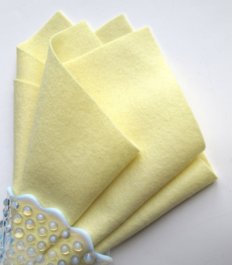 Light Yellow Felt 100% Merino Wool Felt Sheet Pastel Felt image 0