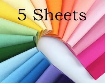 Wool Felt, Pure Merino Wool, CHOOSE FIVE Sheets, Certified Safe, NonWoven Wool, European Wool Felt