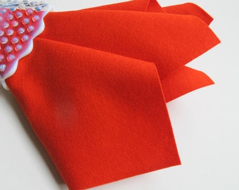 Orange-Red Felt, Pure Merino Wool, Large Felt Sheet, Felt Square, Non Woven Fabric