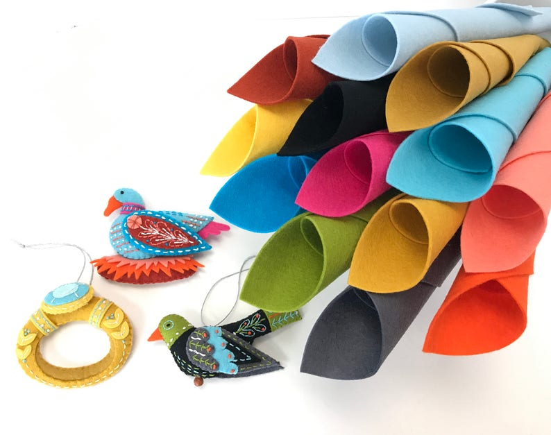 Twelve Days Ornaments 100% Wool Felt Materials Kit Colly image 0