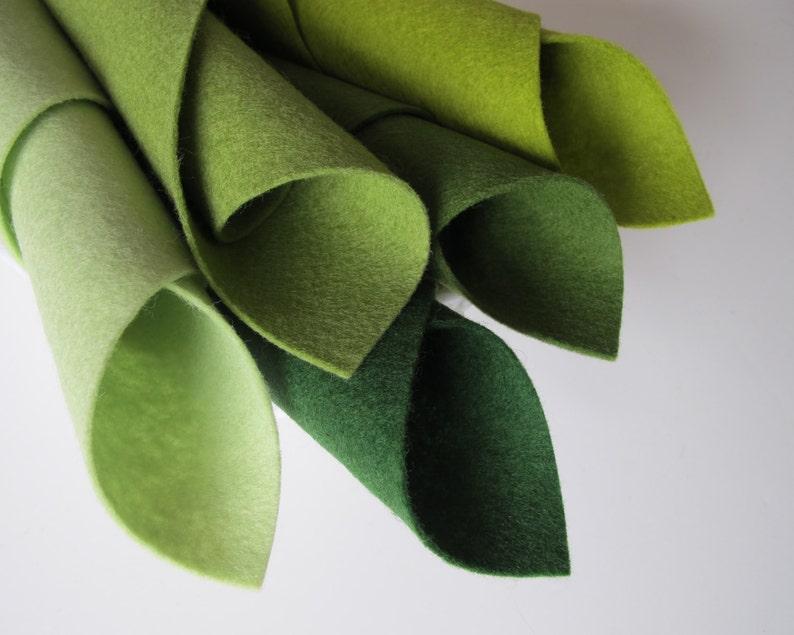 Fresh Greens Wool Felt Sheets Five Piece Set 8 x 12 Inches image 0