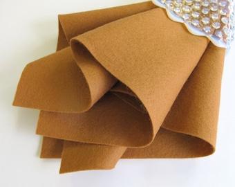 Wool Felt Square, Cinnamon, Pure Wool, 100% Merino, Non Woven Wool