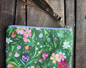 Green Wildflowers - Linen & Suede Handmade Zip Pouch