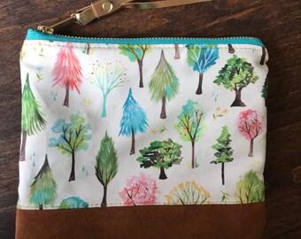 Forest - Linen & Suede Handmade Zip Pouch