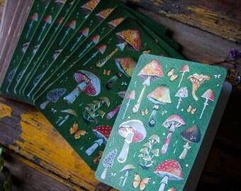 Mushrooms GOLD FOIL Notecard Set | Greeting Cards | Stationery