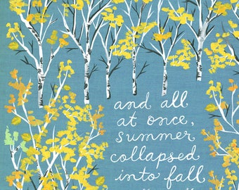 Summer Collapsed Art Print | Fall Autumn | Watercolor Quote | Inspirational Lettering |  8x10 | 11x14