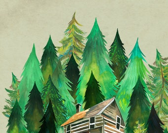 Home in the Forest | Cabin Painting | Watercolor Wall Art | Katie Daisy |  8x10 11x14