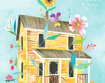 Sunny Yellow Farmhouse Art Print | Country Wall Art | House Painting | Katie Daisy Artwork | 8x10 | 11x14