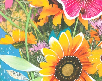 Wildflower Bouquet Art Print   Mixed Media Painting   Floral Photograph   Katie Daisy   8x10   11x14