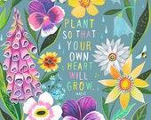 Plant | Wildflower Art Print | Floral Wall Art | Hafiz | Katie Daisy | 8x10 | 11x14