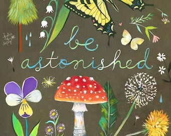 Be Astonished art print | Watercolor and Acrylic Painting |  inspirational Wall Art | Katie Daisy | 8x10 | 11x14
