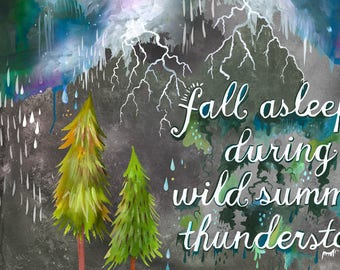 Summer Thunderstorm | Horizontal Print  | Watercolor Painting | Katie Daisy Nature Wall art | 8x10 | 11x14