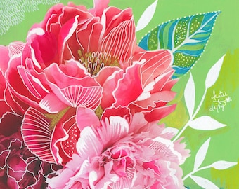 Peonies Art Print | Mixed Media Painting | Floral Photograph | Katie Daisy | 8x10 | 11x14
