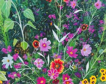 Garden Art Print | Mixed Media Painting | Floral Photograph | Katie Daisy | 8x10 | 11x14