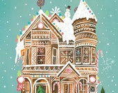 Gingerbread Palace | Holiday Wall Art | by Katie Daisy