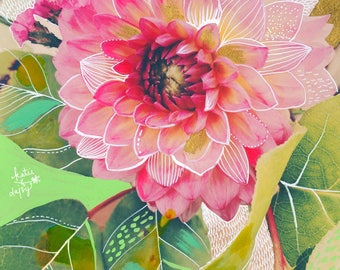Dahlia Art Print | Mixed Media Painting | Floral Photograph | Katie Daisy | 8x10 | 11x14