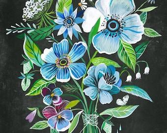 Twilight Bouquet   Wildflower Art Print   Floral Wall Art   Katie Daisy   8x10   11x14