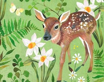 Fawn Art Print | Nature Wall Art | Katie Daisy | 8x10 | 11x14