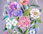 Iris Dream | Wildflower Art Print | Floral Wall Art | Katie Daisy | 8x10 | 11x14