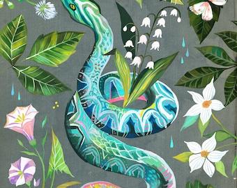 Garden Snake | Art Print | Nature Wall Art | Katie Daisy | 8x10 | 11x14