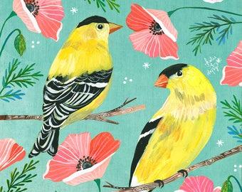 Gold Day art print | Goldfinch Artwork | Bird Painting | Katie Daisy | 8x10 | 11x14
