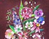 Burgundy Bouquet | Wildflower Art Print | Floral Wall Art | Katie Daisy | 8x10 | 11x14