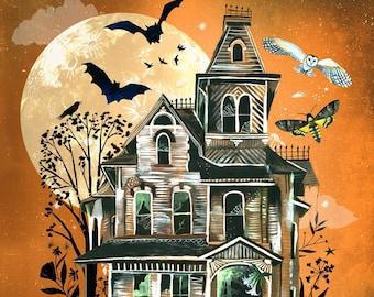 October House Art Print   Halloween Wall Art   Autumn Painting   Katie Daisy Artwork   8x10   11x14