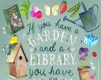 Garden & A Library Art Print   Botanical Painting    Katie Daisy   8x10   11x14