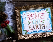 Dove Peace on Earth Art Print | Watercolor Lettering | Christmas Wall Art | Katie Daisy | 8x10