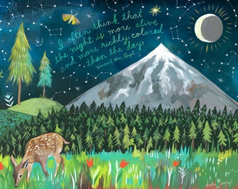 Night Mountain Art Print   Van Gogh Quote   Nature Wall Art   Outdoorsy   Hand Lettering   Katie Daisy   8x10   11x14