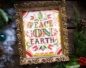 Peace on Earth Print | Holiday Painting | Watercolor Wall Art | Katie Daisy |  8x10