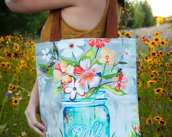 Ball Jar -  Handmade Cotton/Linen Tote Bag - Katie Daisy