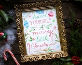 Merry Little Christmas Holiday Print | Watercolor Lettering | Christmas Wall Art | Katie Daisy | 8x10
