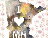 Minnesota State Print | Wall Art | Watercolor Lettering | Katie Daisy | 8x10 | 11x14