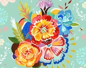 Mountain Bouquet - various sizes - STRETCHED CANVAS - Katie Daisy art
